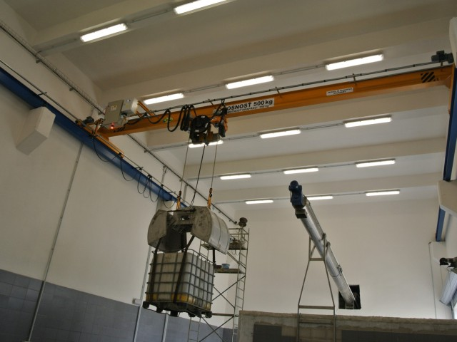 Mostový žeriav jednonosníkový, 500kg