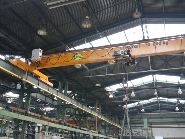 Single-Girder Bridge Crane 10T, 4 Wheels on Each Side